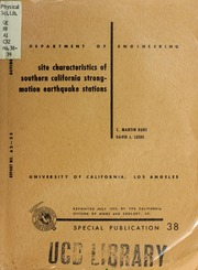 Site Characteristics of Southern Califor... by Duke, Charles Martin, 1917-