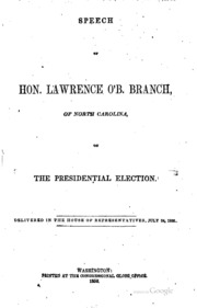Speeches : Year 1856 Volume Year 1856 by Lawrence O'Brien Branch