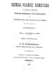 Srimad Valmiki Ramayana by T.R.Krishnacharya