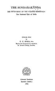 The Valmiki Ramayana Vol-V the Sundaraka... by Jhala,g.C.