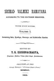 Srimad Valmiki Ramayana Voll. I by Rhys Davids