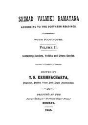 Srimad Valmiki Ramayana (Vol-II) by Javaji Dadajis Nirnaya Sagar Press Bombay