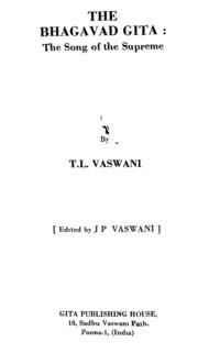 The Bhagavad Gita the Song of the Suprem... by J.P.Vaswani