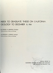 Index to Graduate Theses on California G... by Jennings, Charles W. (Charles William), 1927-