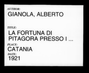 La Fortuna Di Pitagora Presso I Romani D... by Gianola, Alberto