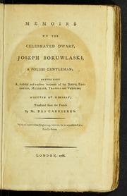 Memoirs of the Celebrated Dwarf, Joseph ... by Boruslawski, Jozef, 1739-1837