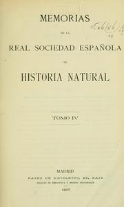 Memorias De La Real Sociedad Espa De His... by Real Sociedad Espa De Historia Natural