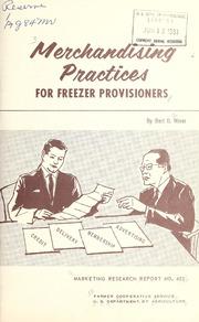 Merchandising Practices for Freezer Prov... by Miner, Bert D. (Bert Dean), 1926-