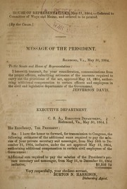 Message of the President [transmitting E... by Confederate States of America. President