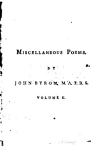 Miscellaneous Poems : Volume 1, Year 177... by Byrom, John, 1692-1763