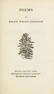 Poems by Emerson, Ralph Waldo, 1803-1882