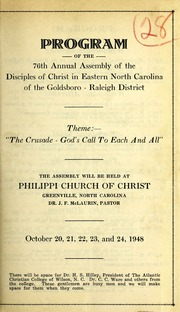 Program of the 76Th Annual Assembly of t... by Disciples of Christ in Eastern North Carolina of t...