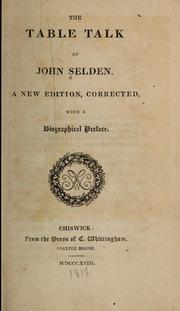 The Table Talk of John Selden by Selden, John