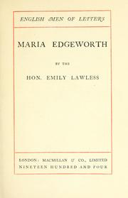 Maria Edgeworth by Lawless, Emily