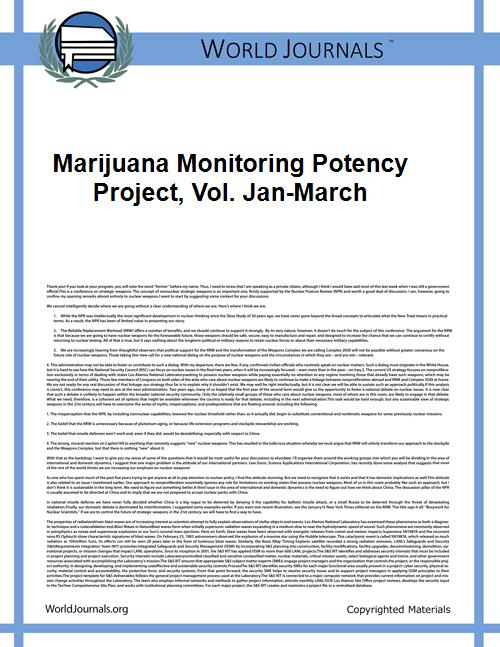 Marijuana Monitoring Potency Project, Vo... Volume Vol. Jan-March by Univerity of Mississippi