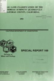 Mineral Land Classification of the San A... Volume Vol. No. 169 by Taylor, Gary Charles