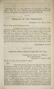 Message of the President [transmitting a... by Confederate States of America. Army. Dept. of Tenn...