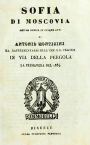 Sofia Di Mosgovia Azione Mimica in Cinqu... by Monticini, Antonio