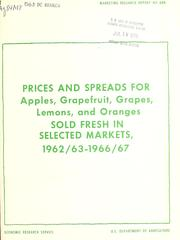 Prices and Spreads for Apples, Grapefrui... Volume Vol. No. 888 by Burns, Alfred Joseph