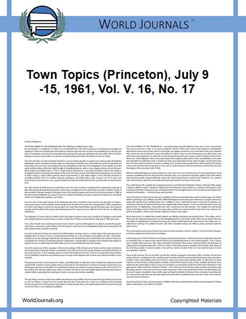 Town Topics (Princeton), July 9-15, 1961... Volume Vol. 16, No. 17 by