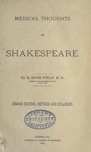 Medical Thoughts of Shakespeare by Field, Benjamin Rush, B. 1861