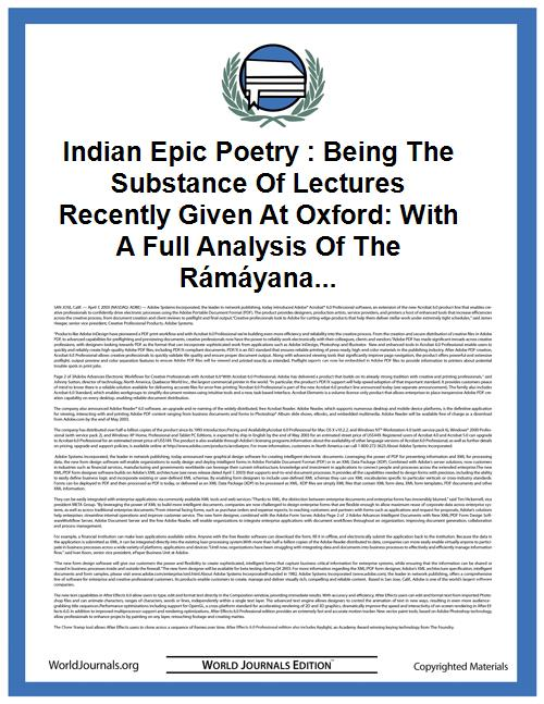 Indian Epic Poetry : Being the Substance... by Monier-Williams, Monier, Sir