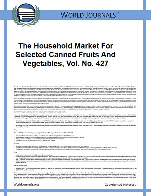 The Household Market for Selected Canned... Volume Vol. No. 427 by Anderson, Kenneth Eugene