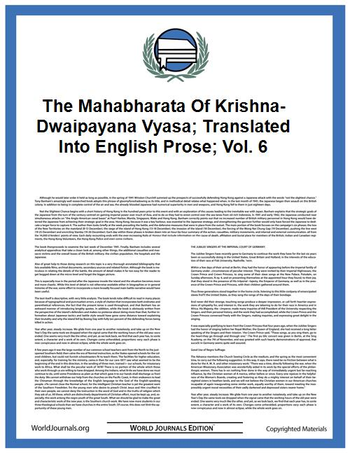 The Mahabharata of Krishna-Dwaipayana Vy... Volume Vol. 6 by