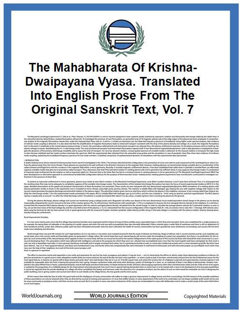 The Mahabharata of Krishna-Dwaipayana Vy... Volume Vol. 7 by Roy, Pratap Chandra