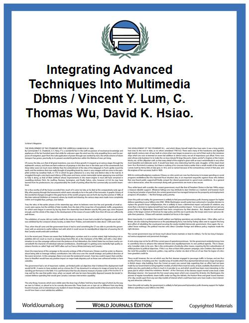 Integrating Advanced Techniques Into Mul... by Lum, Vincent Y. ; Wu, C. Thomas. ; Hsiao, David K.