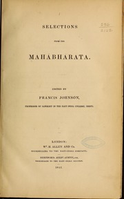 Selections from the Mahábhárata by Johnson, Francis, 1796-1876,  Ed