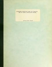 Ultrasonci Absorption Along the Principa... by Victor, Alfred Erwin.