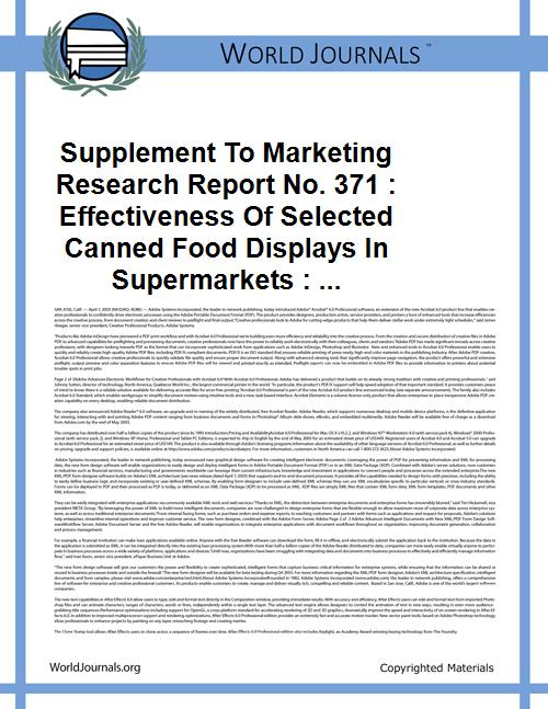 Supplement to Marketing Research Report ... Volume Vol. no.371 by Grubbs, Violet Davis, 1911-