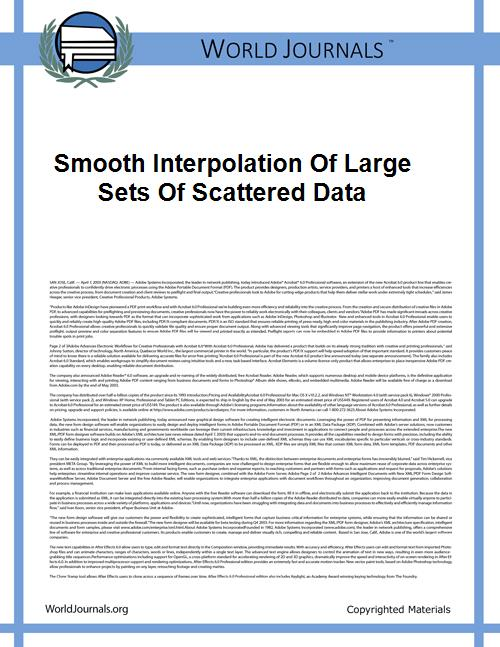 Smooth Interpolation of Large Sets of Sc... by Franke, Richard.;Nielson, Gregory