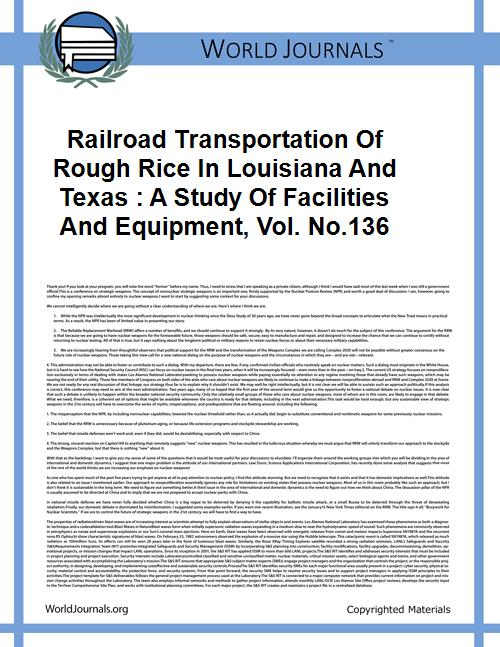 Railroad Transportation of Rough Rice in... Volume Vol. no.136 by Jay, J. Edward, 1901-