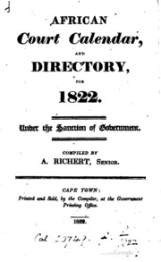 The African Court Calendar and Directory by Govt. Printing Office, 1822