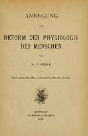 Anregung Zur Reform Der Physiologie Des ... by Jezek, F. (Ferdinand)