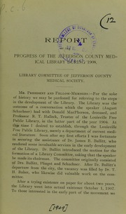 Report of the Progress of the Jefferson ... by Royal College of Surgeons of England