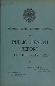 report 1928 by Monmouthshire (Wales). County Council. No 00040303