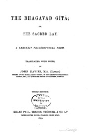 The Bhagavad Gita, Or, the Sacred Lay: a... by John Davies