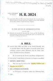 A Bill to Amend Titles Xix and Xxi of th... by United States. Congress. House