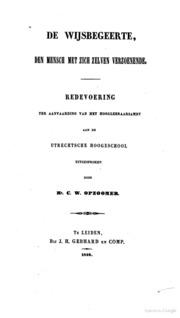 De Wijsbegeerte, Den Mensch Met Zich Zel... by Opzoomer, Cornelis Willem, 1821-1892