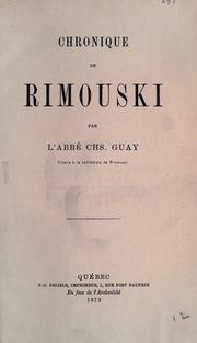 Chronique De Rimouski by Guay, Charles, 1845-1922