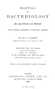 Manual of Bacteriology for Practitioners... by Schenk, Samuel Leopold, 1840-1902