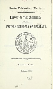Fund Publication : Volume Nos.29-33 by Maryland Historical Society. Cn