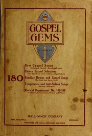 Gospel Gems. One Hundred Eighty Sacred S... by Hall, J. Lincoln (Joseph Lincoln), 1866-1930
