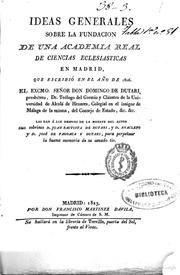 Ideas Generales Sobre La Fundación De Un... by Domingo De Dutari