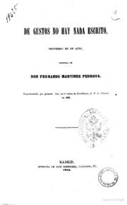 De Gustos No Hay Nada Escrito Proverbio ... by Fernando Martinez Pedrosa