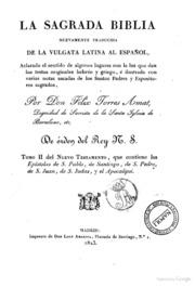 La Sagrada Biblia Nuevamente Traducida D... by Felix Torres Amat