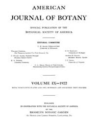 American Journal of Botany : 1922 Vol. 9... Volume Vol. 9 by Jernstedt, Judy